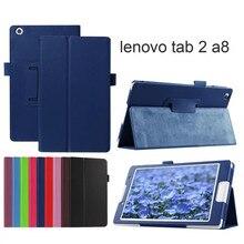 "Para lenovo tab2 A8 PU del soporte del cuero cubierta de la Caja protectora para lenovo tab 2 A8-50 A8-50F A8-50LC 8 ""tablet + film + pluma"