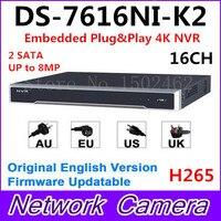 Hikvision Englische Originalversion DS-7616NI-K2 Embedded 4 Karat NVR 2HDD Unterstützung H.265 2 SATA 8MP 16CH Netz Dhl-freies Verschiffen