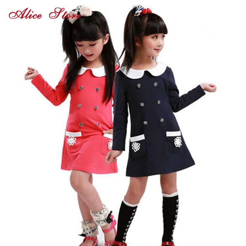 Girls Dress College Spring Girls Dresses Children Long-sleeved Dress Lapel Double-breasted Pocket Dress Free Shipping