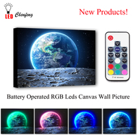 Led Canvas Wall Decorative blue earth view from moon surface Picture Canvas Print Illuminated painting lighted UP kids gift