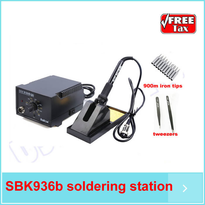 SBK 936B 60W lead free soldering station 200~480C AC220V 50HZ/AC, rework station with 900M iron tips and ESD tweezers free shipping by dhl 6pcs lot atten at936b heater soldering iron at 936b welding solder station 50hz 50w 200 c 480 c