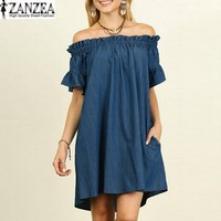 Plus Size S 5XL ZANZEA Women Summer Short Sleeve Casual Loose Long Tops Blusas Ruffled Denim