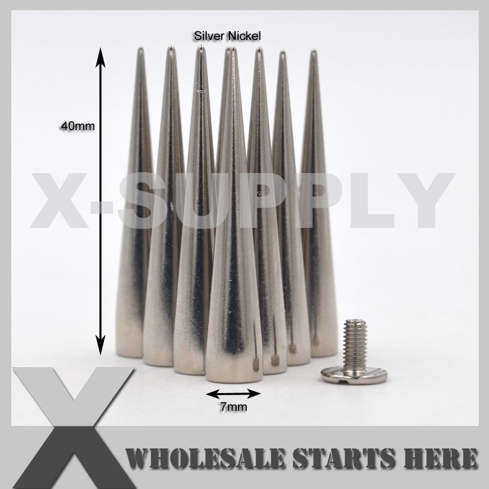 (7x40mm) Punk Cone Spike Studs,Screw Back In Silver Nickel Color,Used For Leather Craft,Jeans,Hats,Shoes,Belts