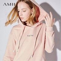 Amii Minimalistische Casual Vrouwen Jurk 2018 Hooded Lange Mouwen Knie Hoge Gedessineerde Straight Jurken