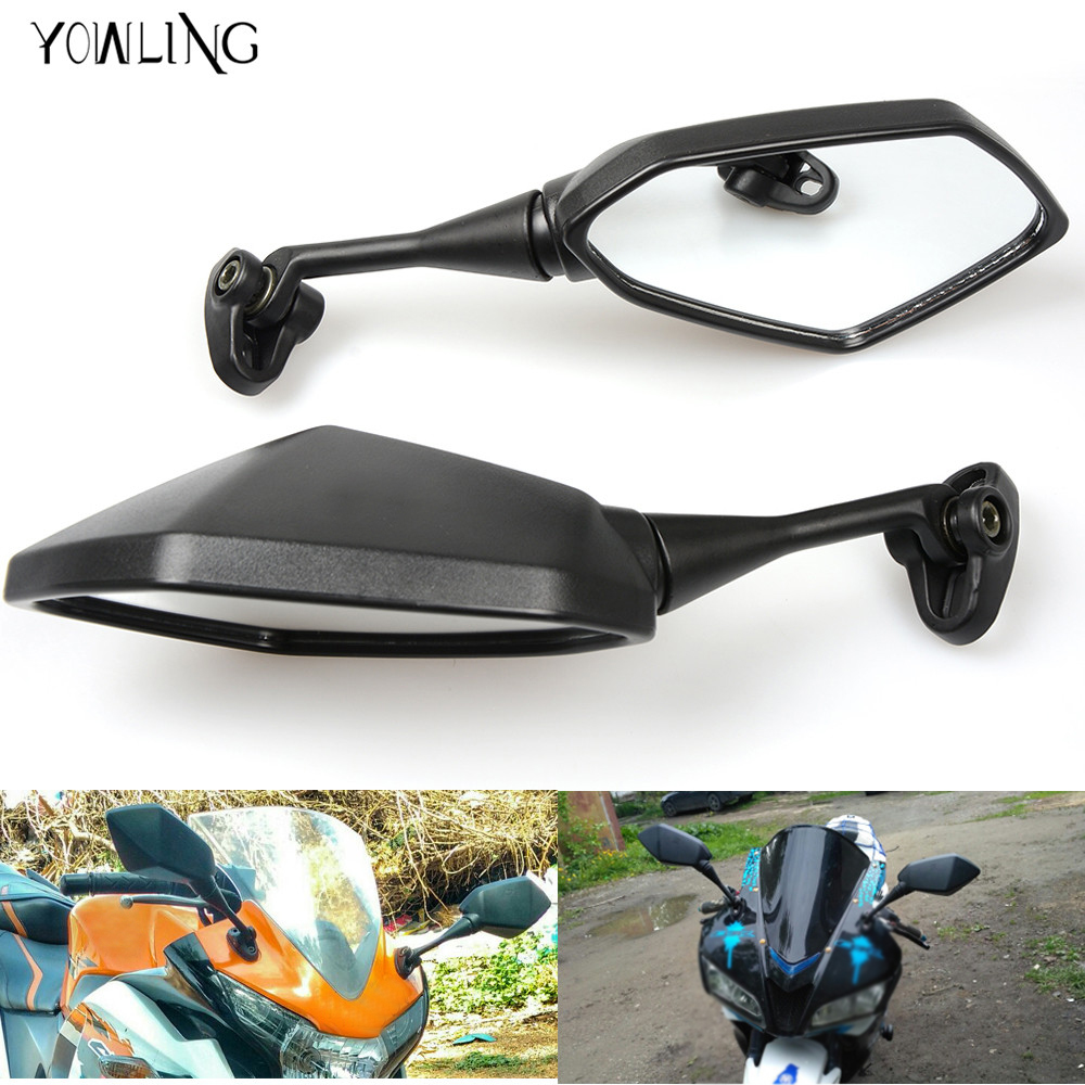 Universal moto motorcycle scooters racer rearview back for Yamaha r6 aftermarket mirrors