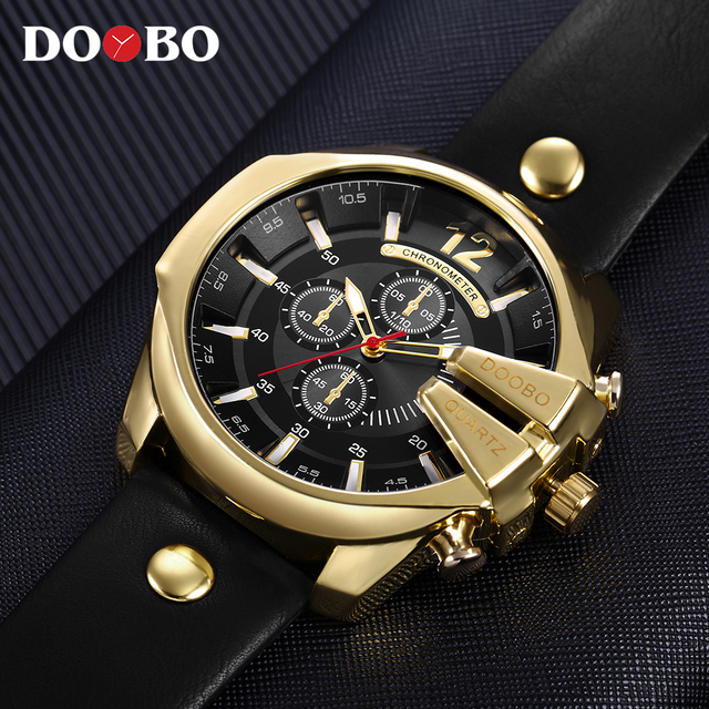 DOOBO Men Watches Top Brand Luxury Gold Male Watch Fashion Leather Strap Casual sport Wristwatch With Big Dial Drop Shipping 1