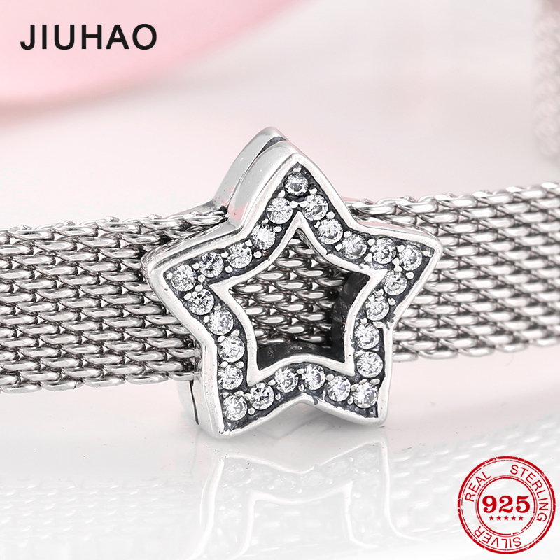 Authentic 925 Sterling Silver Openwork Stars shape Clear CZ Beads for Jewelry making Fit Original reflection Clip Charm Bracelet