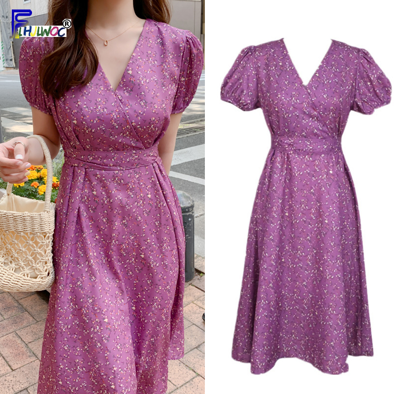 Floral Vintage Dresses Fashion Woman V Neck Korean Date Wedding Party A Line Bow Tie Slim Waist Purple Dress Long 5128