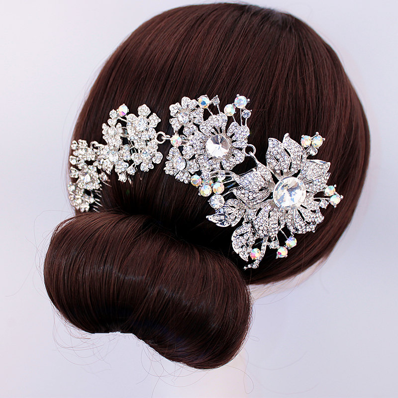 Bridal Hair Accessories Wedding Hair Comb Silver tone Rhinestone Crystal Flower Hair Comb Wedding Headpiece Hair