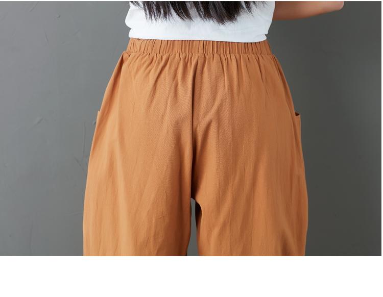 Summer Elastic Waist Cotton Linen Pocket Harem Pant Vintage Loose Mori Girl Oversized Home Tracksuit Plus Size Trouser Workout 60