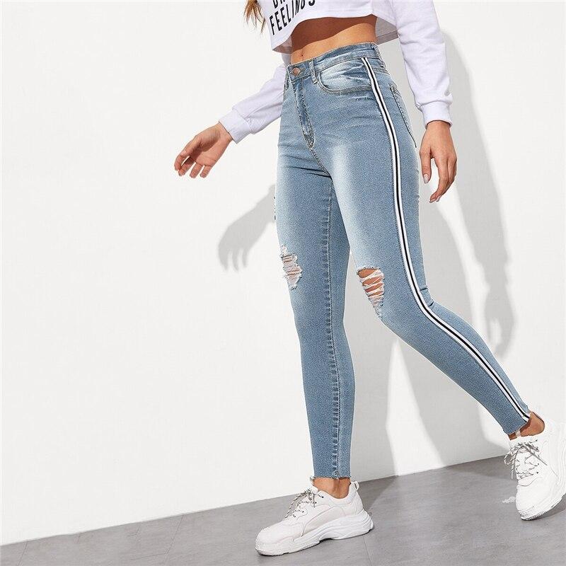 SweatyRocks Stripe Side Ripped Skinny Jeans Leisure Stretchy Long Denim Pants 19 Spring Women Streetwear Casual Blue Jeans 21