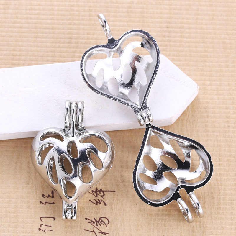 6 uds. Jaula de plata brillante con forma de corazón y perlas para hacer joyas, colgante de jaula, medallón difusor de aceites esenciales para ostras y perlas