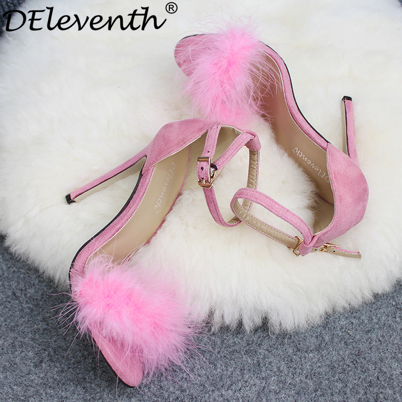 DEleventh Fashion Women Sandals Wine Red Black Fur Shoes Sandals Pink Feather Open Toe Buckle High Heels Wedding Shoes Big Size the new pink wine rack high end modern soft furnishings personalized pink wine resin crafts big quantity best price