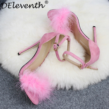 ФОТО deleventh fashion women sandals wine red black fur shoes sandals pink feather open toe buckle high heels wedding shoes big size