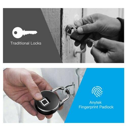 Anti Theft Fingerprint Waterproof Smart Key Lock Home Security Door Padlock P22Anti Theft Fingerprint Waterproof Smart Key Lock Home Security Door Padlock P22