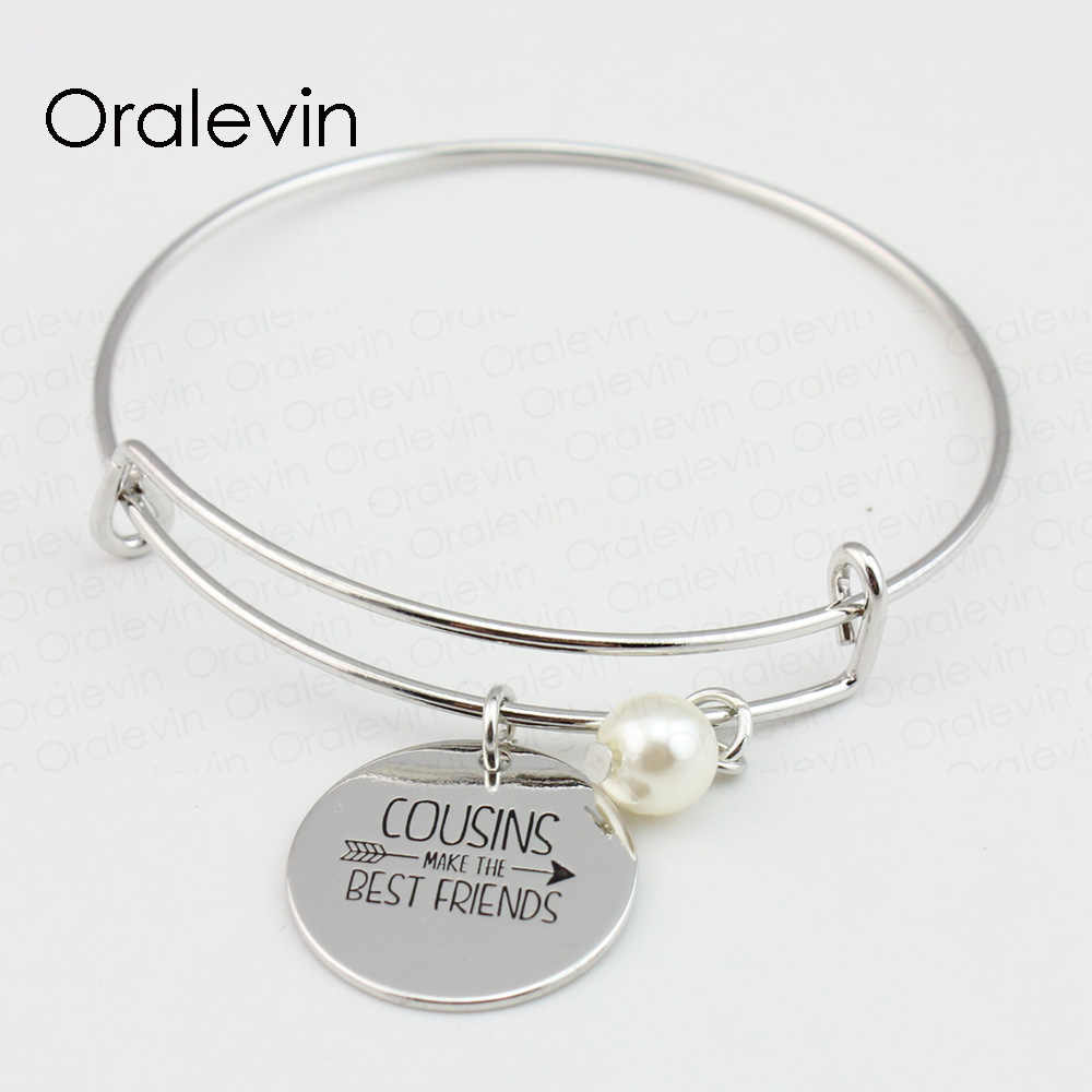 Cousins Make The Best Friends Inspirational Engraved Pendant Charm Expandable Bracelet Metal Stamped Jewelry Ln500b