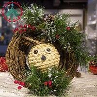 DIY Christmas ornaments Home Furnishing owl rattan ring garland Christmas ornaments simulation room decoration pine cone