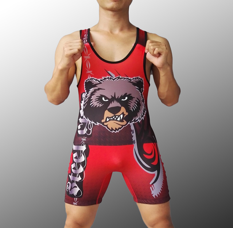 US $38 0 |Mens Steel City Bear Wolf Tight Suit One Piece Wrestling singlet  Man Weight Lifting WorkOut Outfits-in Rash Guard from Sports &