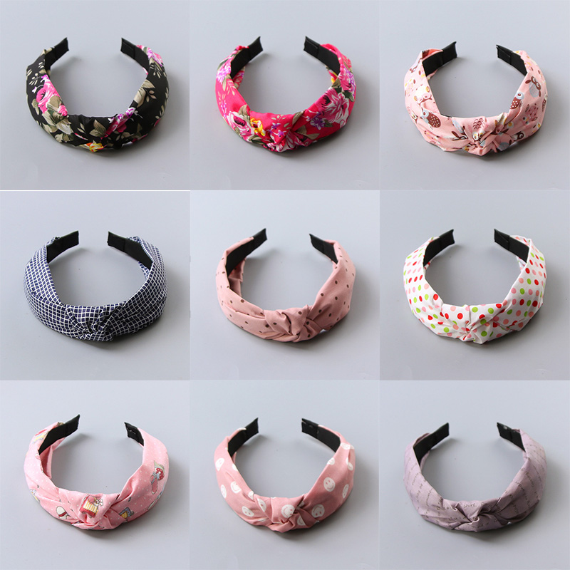 New Fashion Girls Cute Cartoon Dot Flower Smile Face Cloth Headband Kids Birthday Gifts Hairbands Hair Bands Hair Accessories