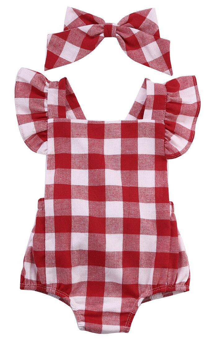 2016 newborn infant kids baby girl bodysuit 0 18m cute girls toddler kids clothing red plaid. Black Bedroom Furniture Sets. Home Design Ideas