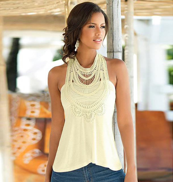 Summer Hot Style Black Apricot Lace Patchwork Sleeveless Tanks Tops Fashion Women's T-shirt