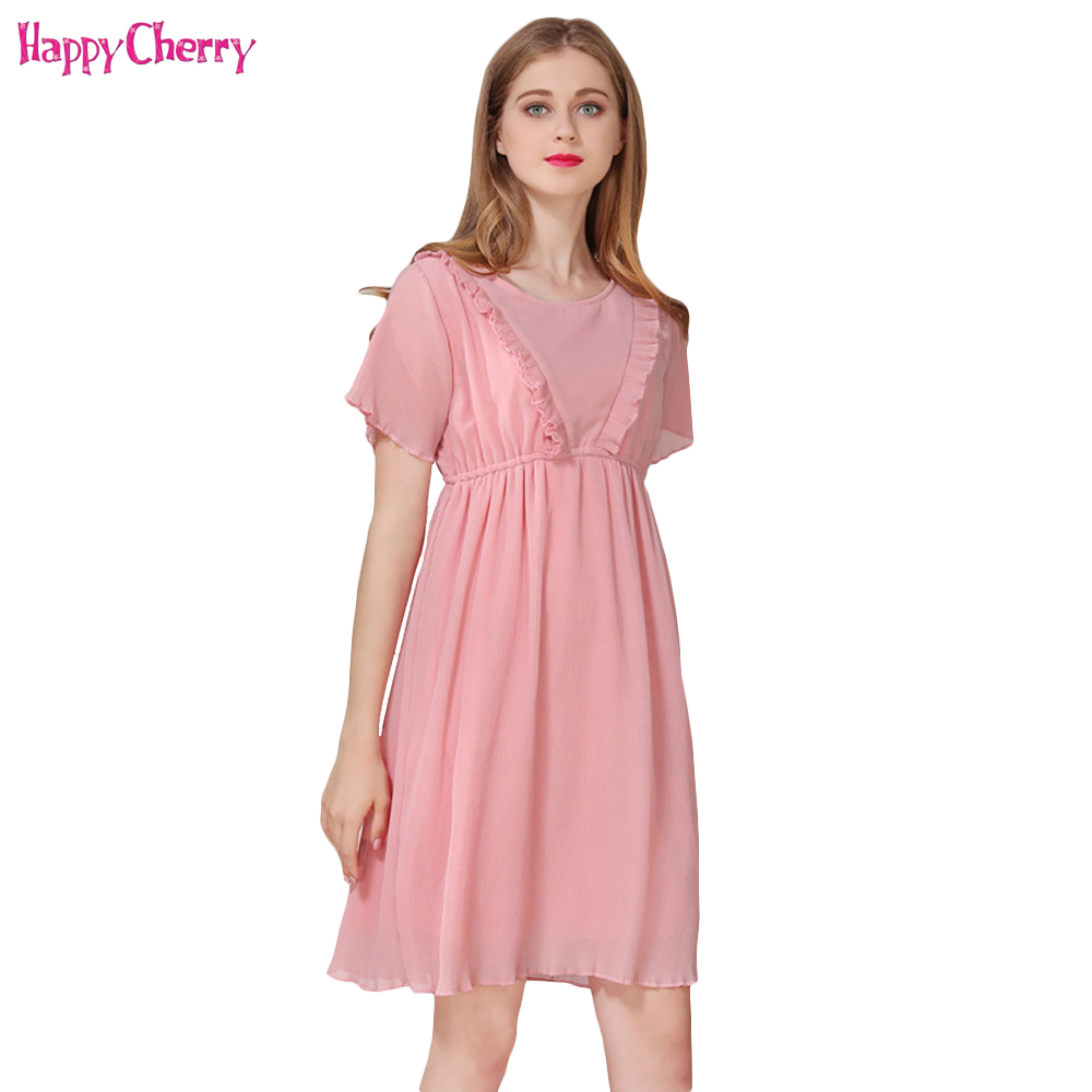 Pregnant Women Dresses Breast Feeding dress Chiffon Short Sleeve Nursing Clothes Pink Cute Casual Clothing For Pregnancy Female
