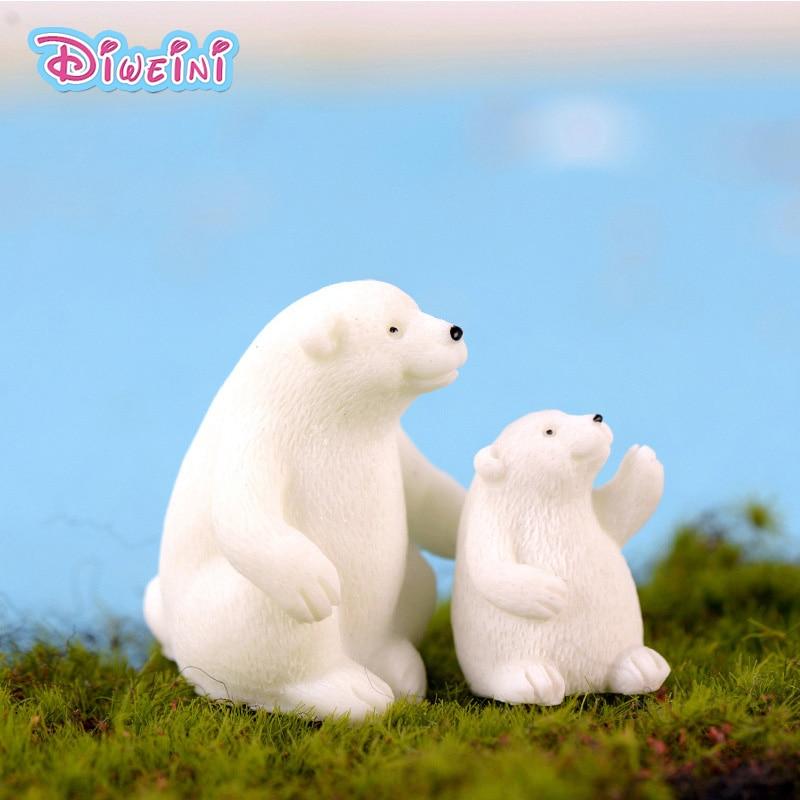 2pc Mother Son White Bear Figures Polar Bear Animal Model Miniature Figurines Fairy Home Garden Wedding Doll Decoration Toy Gift