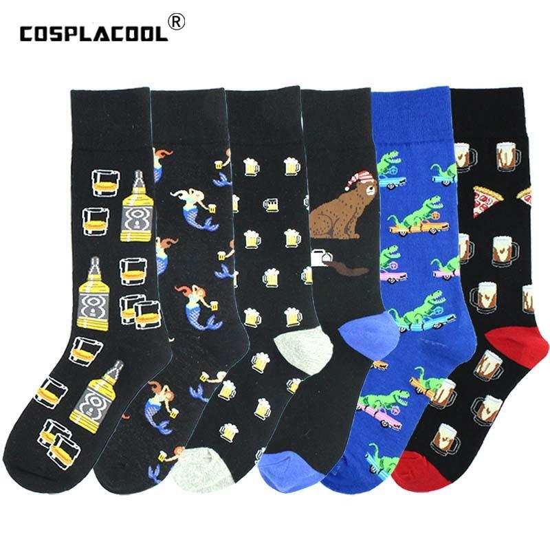 Harajuku Cool Socks Men Pizza Mermaid Beer Happy Sokken Creative Crew Socks Skateboard Funny Socks Crazy Calcetines Homme Meias