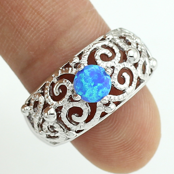 haimis free gift box free shipping unusual blue fire opal hollow fashion jewelry for women opal ring size 6 7 8 d44b - Unusual Wedding Rings