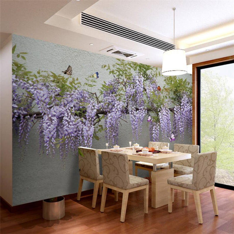 beibehang Custom 3d wall paper wisteria butterfly 3D wallpaper sofa living room bedroom study TV background wall home decor beibehang wall paper home decor children s room wallpaper cute boy girl bedroom background car cartoon 3d wallpaper roll