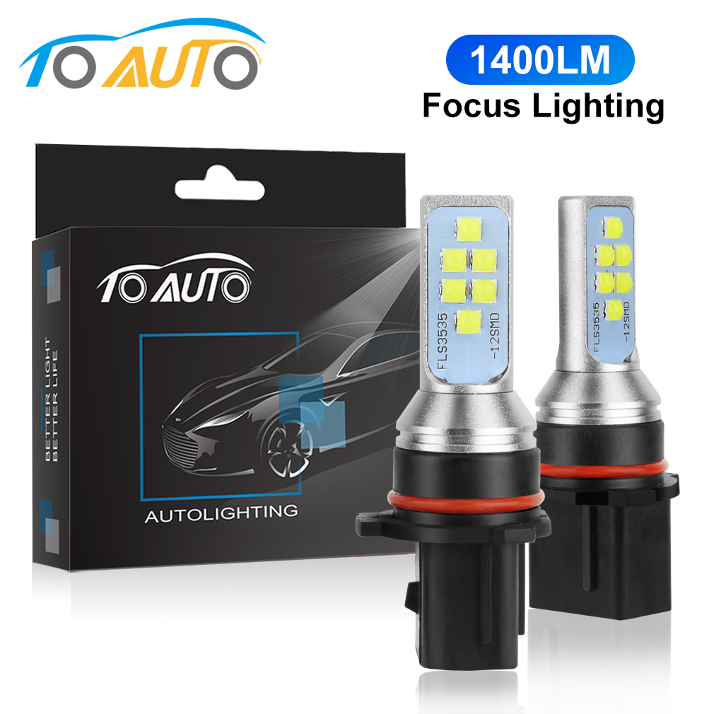 2 Lamps Fog Light Bulbs Front 9006 LED Fog Lights 2000LM 6000K White 12V