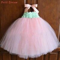 Petit Dream Peach Mint Green Flower Tutu Dress Kids Girls Baby Birthday Flower Dress Pastel Blush Mint Baby Dress Girls Clothes