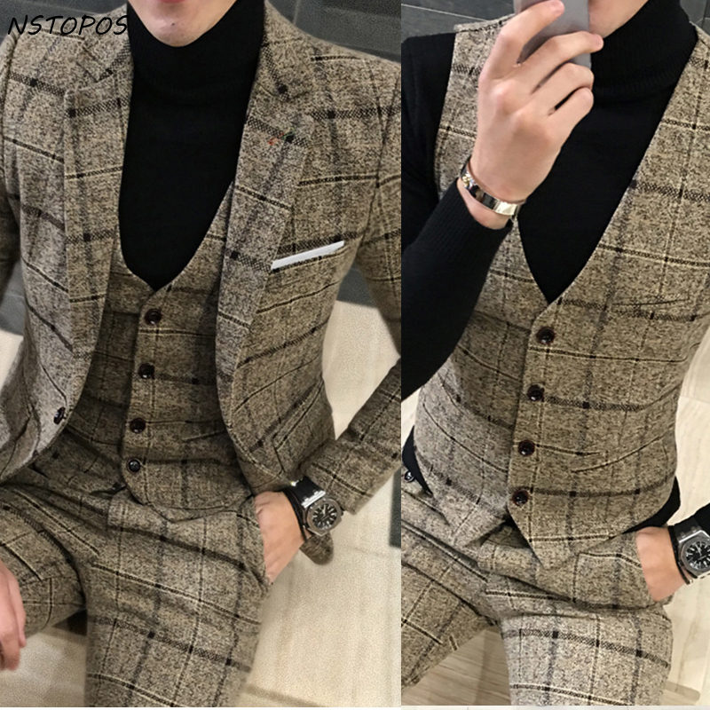 3 Piece Tweed Suit Men Plaid Blazer 4XL 5XL Khaki Grey Blue Black Groom Wedding Dress Suit Costume Homme Ternos Slim Fit