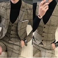 Fall Winter Men Plaid Blazer Plus Size 4XL 5XL Khaki Grey Blue Black Groom Wedding Dress