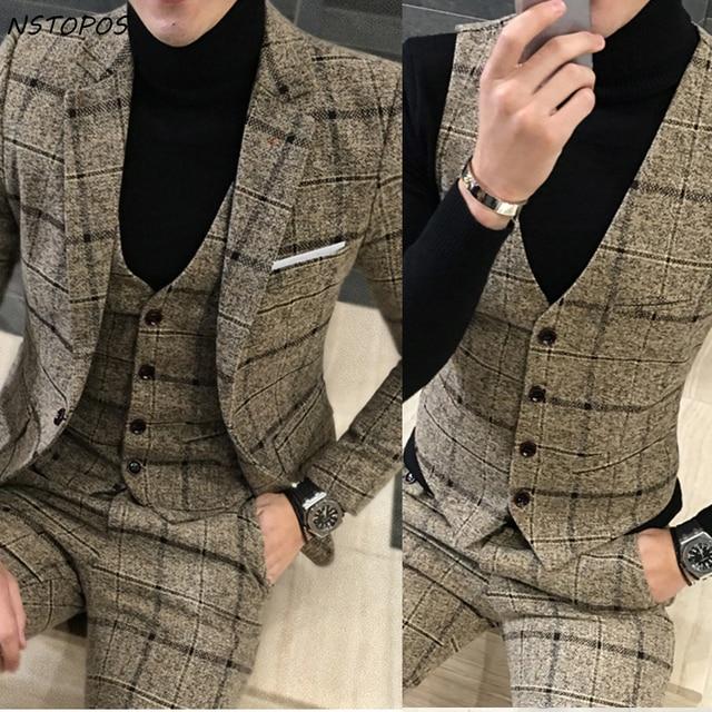 buy 3 piece tweed suit men plaid blazer. Black Bedroom Furniture Sets. Home Design Ideas