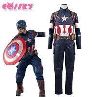 Captain America Steve Rogers Cosplay Costume Avengers Age Of Ultron Hero Battle Suit Superman Uniform For