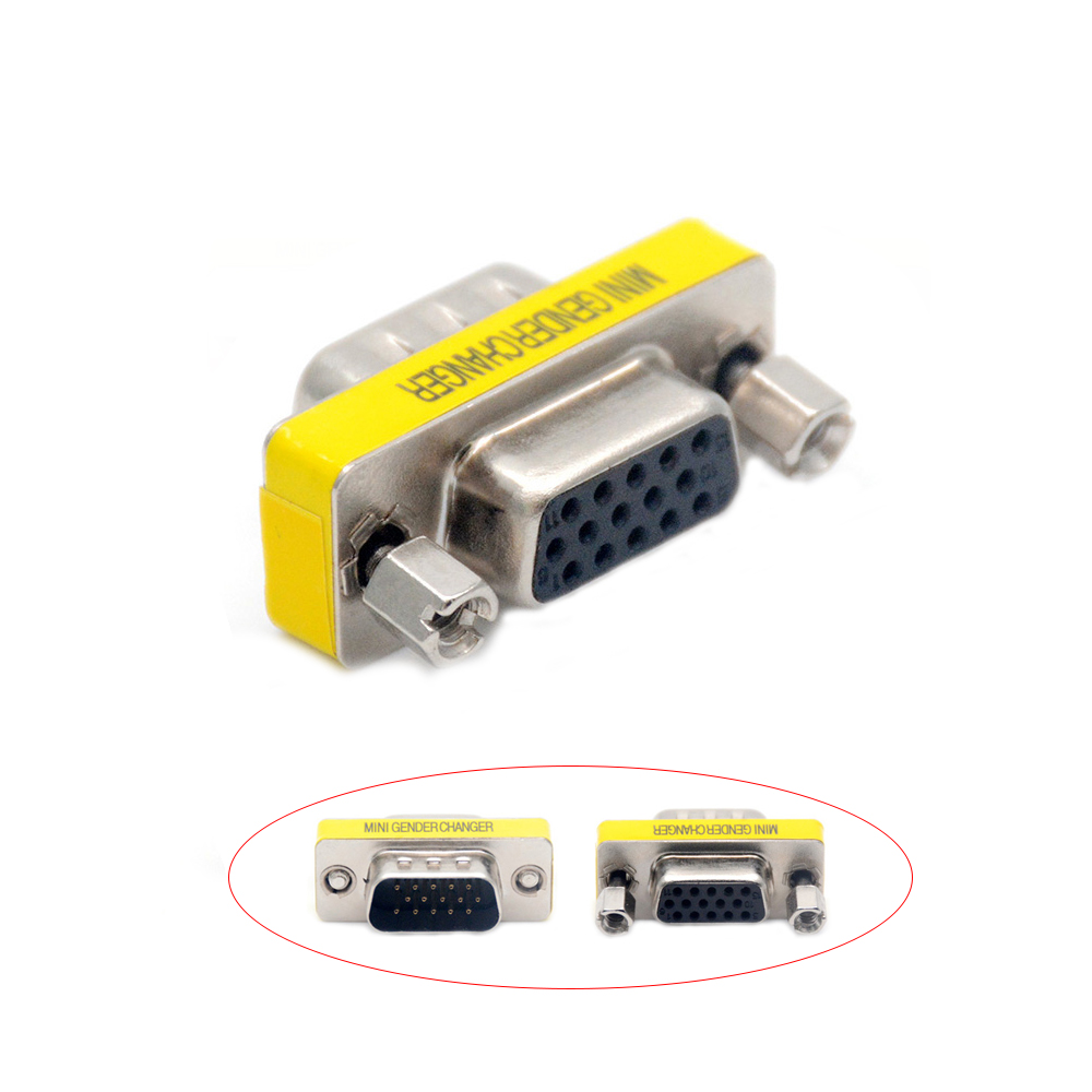 DB15 VGA Connector Mini Gender Changer Adapter 15 Pin Joint Serial Port M/M M/F F/F Converter