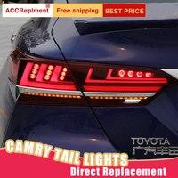 Стайлинга автомобилей светодио дный хвост лампа для Toyota Camry поворотники, аксессуары Lights 2018 для Camry задний свет DRL + поворотник + тормоз + обрат