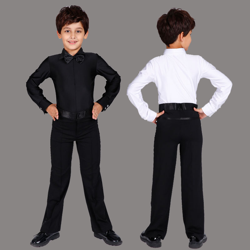 c9b546fc9b70 White Black Boys Latin Dance Costume Shiny Spandex Modern Ballroom Tango  Rumba Latin Shirts&pants-in Latin from Novelty & Special Use on  Aliexpress.com ...