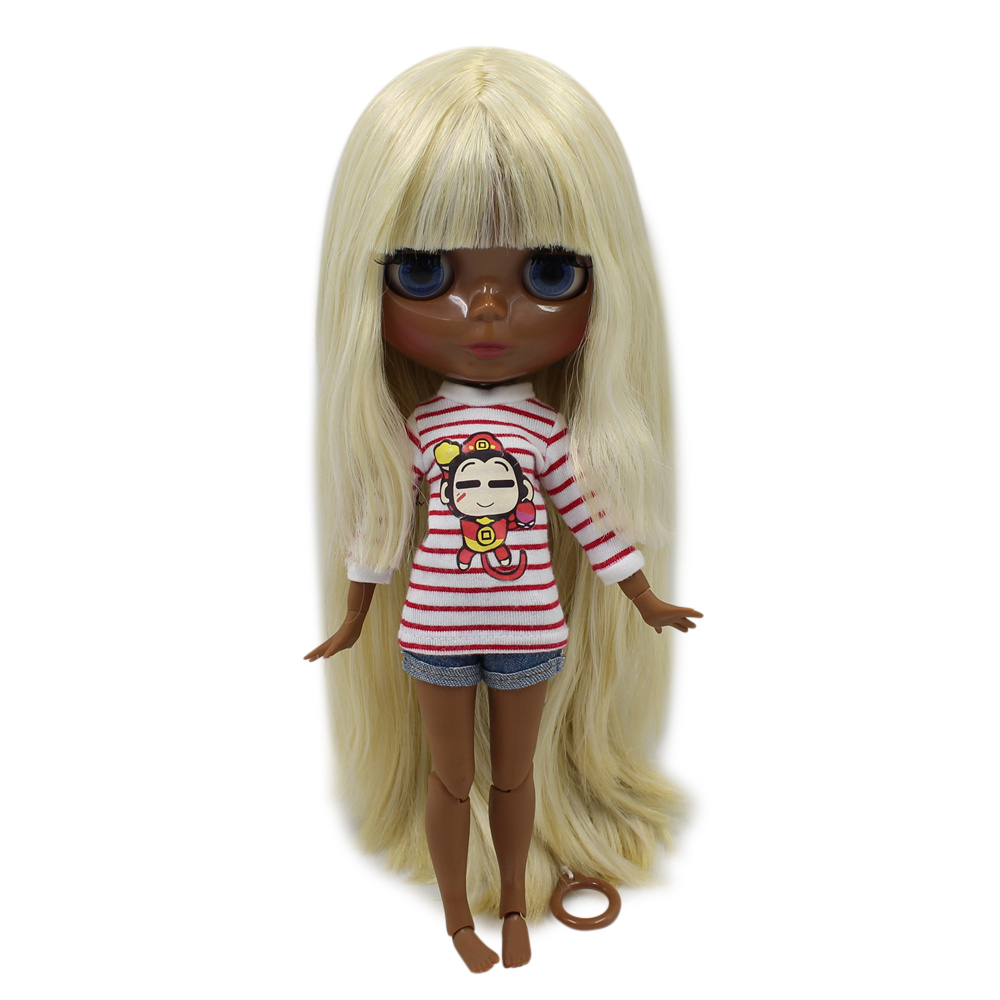 fortune days factory blyth doll super black skin tone darkest skin yellow mix white hair joint body 1/6 30cm 280BL07201003 yellow days montreal