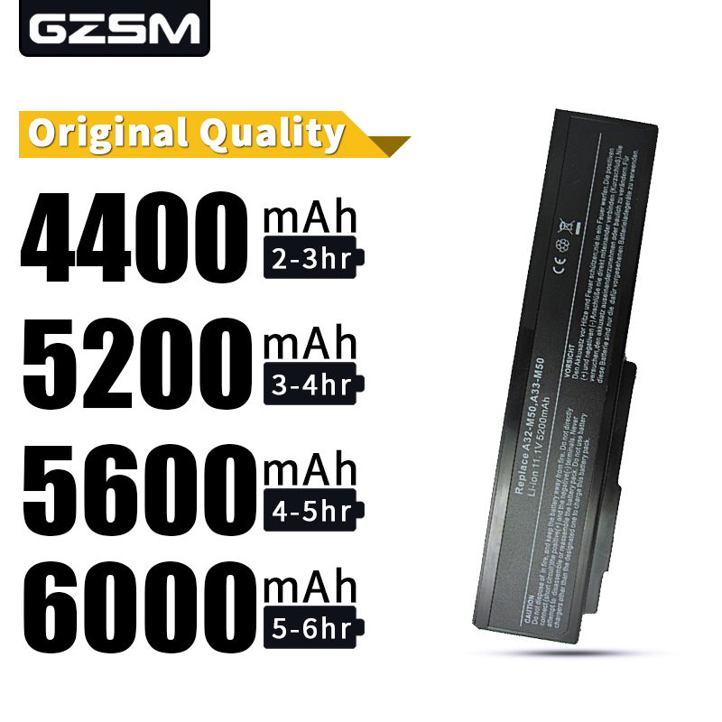 GZSM Laptop Battery A32-M50 For Asus A33-M50 A32-N61 N61J M51 M60 M70 G50 G51J G50v N43 N53 X55 X57 X64 X64 L50 G60 VX5 Battery