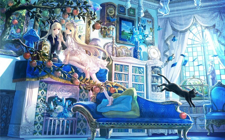 Living Room Home Wall Decoration Fabric Poster Anime Girl Mirror Reflection Cats Apples Books