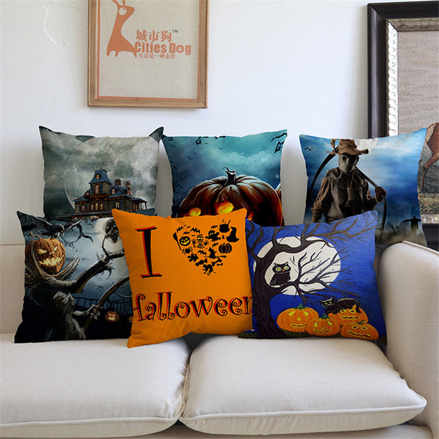 Halloween Funny Gifts Composite Flax Pillowcase Black Laugh Tree Ghost Suit  Sofa Chair Car Decorative Living