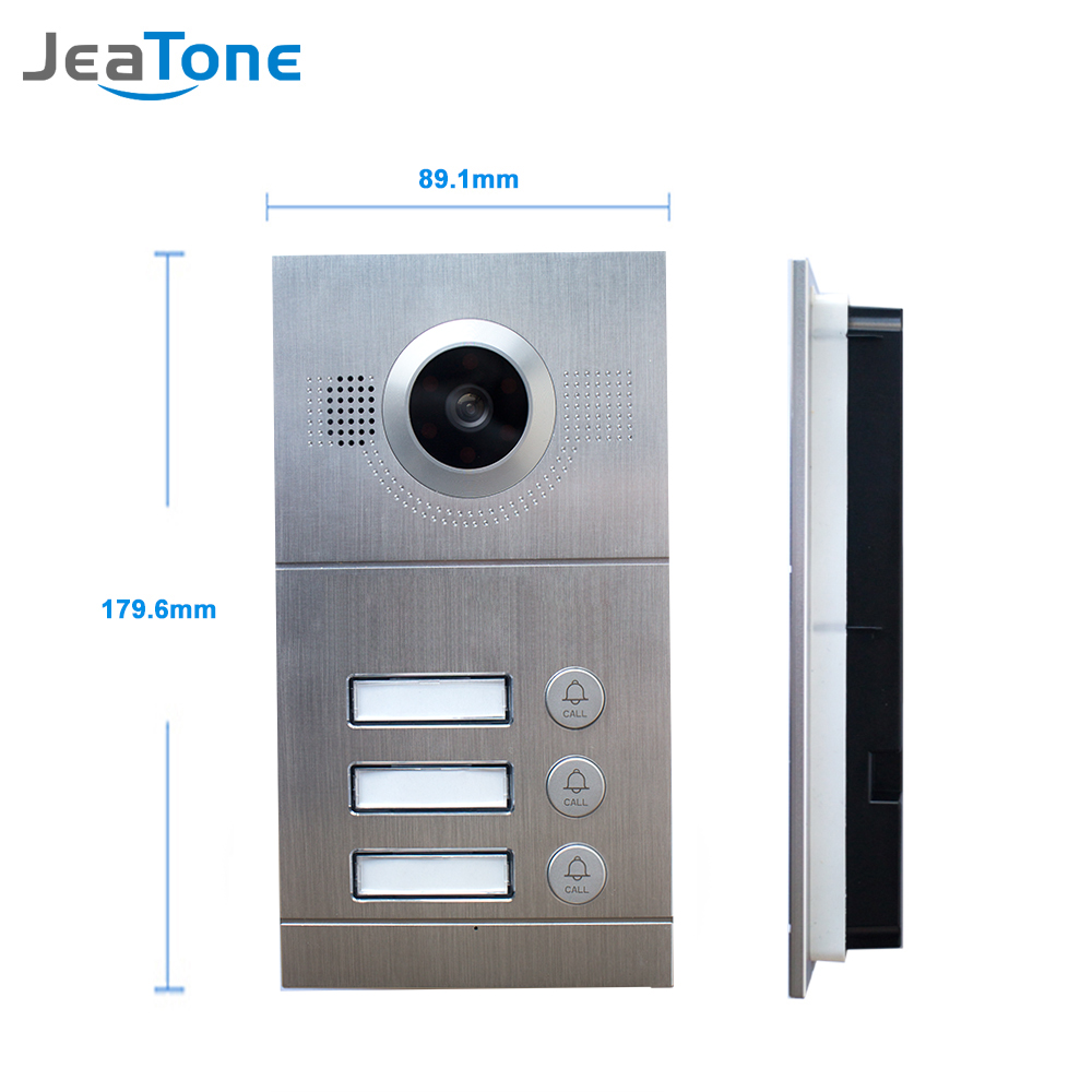 JeaTone Video Door Phone Door Bell IR Camera 720P AHD  High Resolution 3 Buttons Call Panel Camera IP65 Waterproof