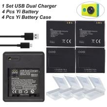 4x batteries xiao mi Yi accessories 1010mAh original Xiaoyi Yi Battery with Double Dual Charger for xiaomi yi action camera цена