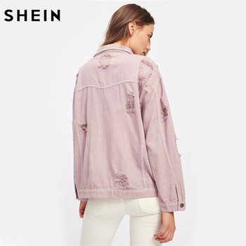 SHEIN Rips Detail Boyfriend Denim Jacket Autumn Womens Jackets and Coats Pink Lapel Single Breasted Casual Fall Jacket 1