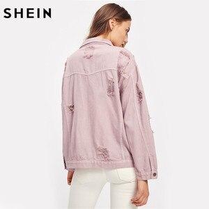 Image 2 - SHEIN Rips Detail chaqueta de mezclilla para novio, chaquetas y abrigos de otoño para mujer, chaqueta de otoño informal con solapa rosa y una botonadura