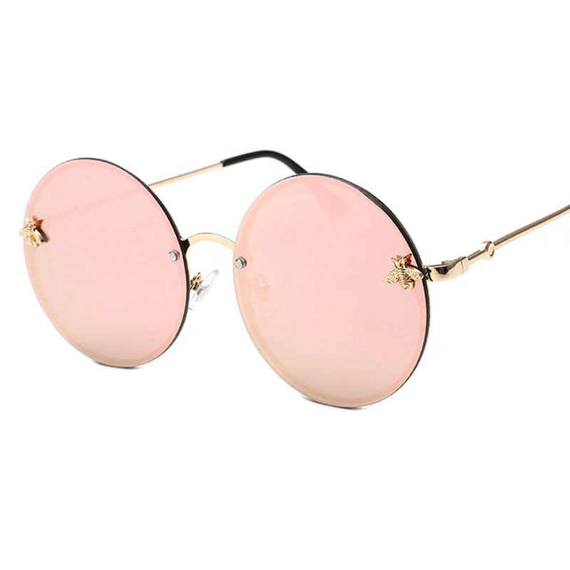 e1d581456 ... Gold metal bee vintage sunglasses luxury brand degner women's sun  glasses pink mirror points rimless round ...