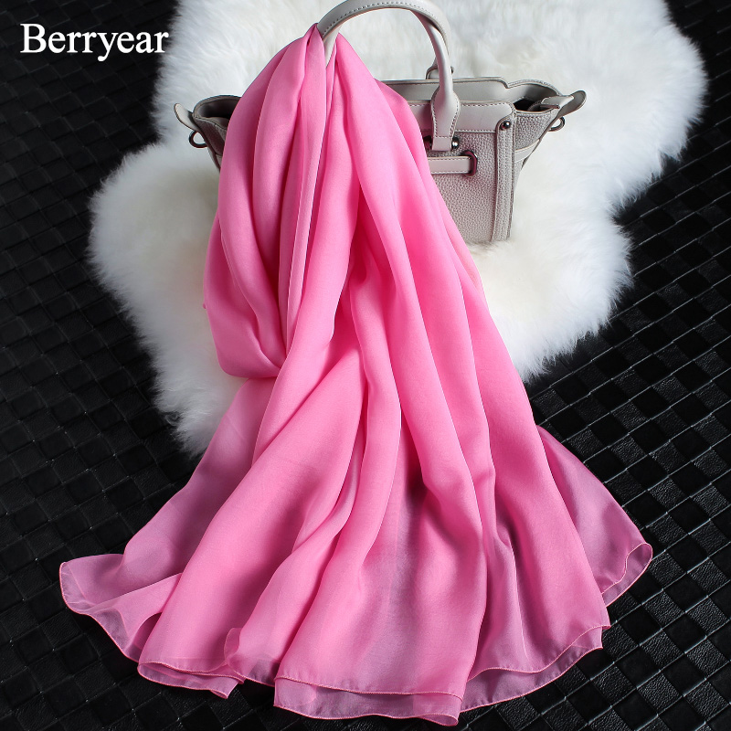 Berryear 2018 وشاح رقيق الحرير وشاح الربيع - ملابس واكسسوارات