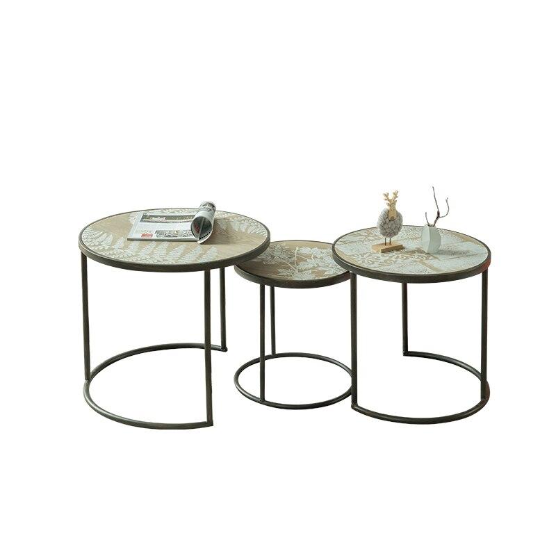 Nice Unique Industrial Simple Wind Modern Metal Round Tea Table Living Room Sets  Three Leisure Tea Table